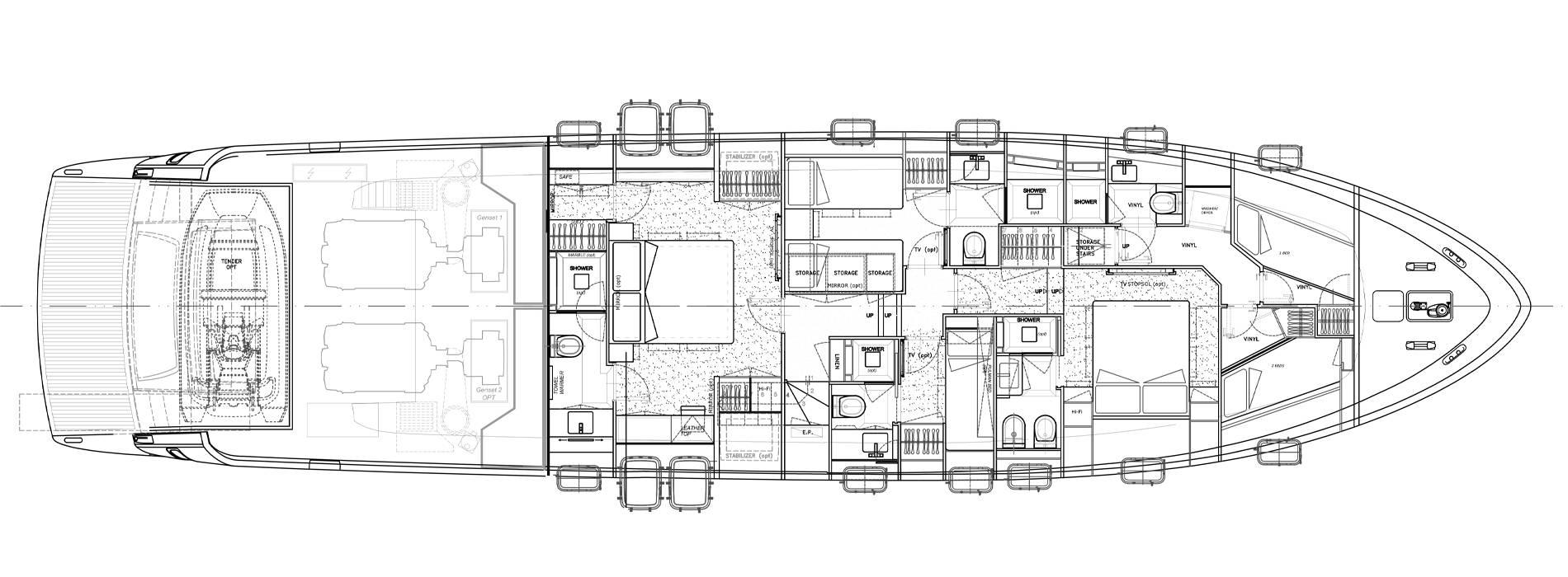 Sanlorenzo Yachts SL78-695 under offer Lower Deck