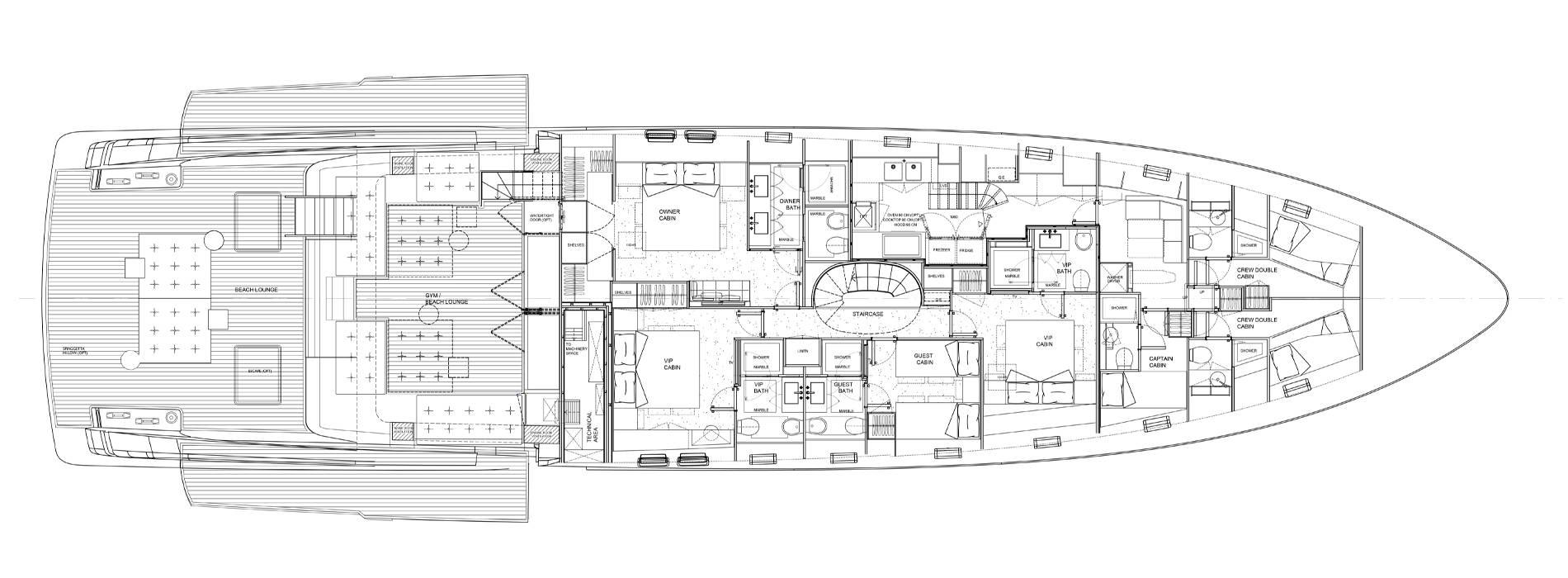 Sanlorenzo Yachts SX112 Lower Deck