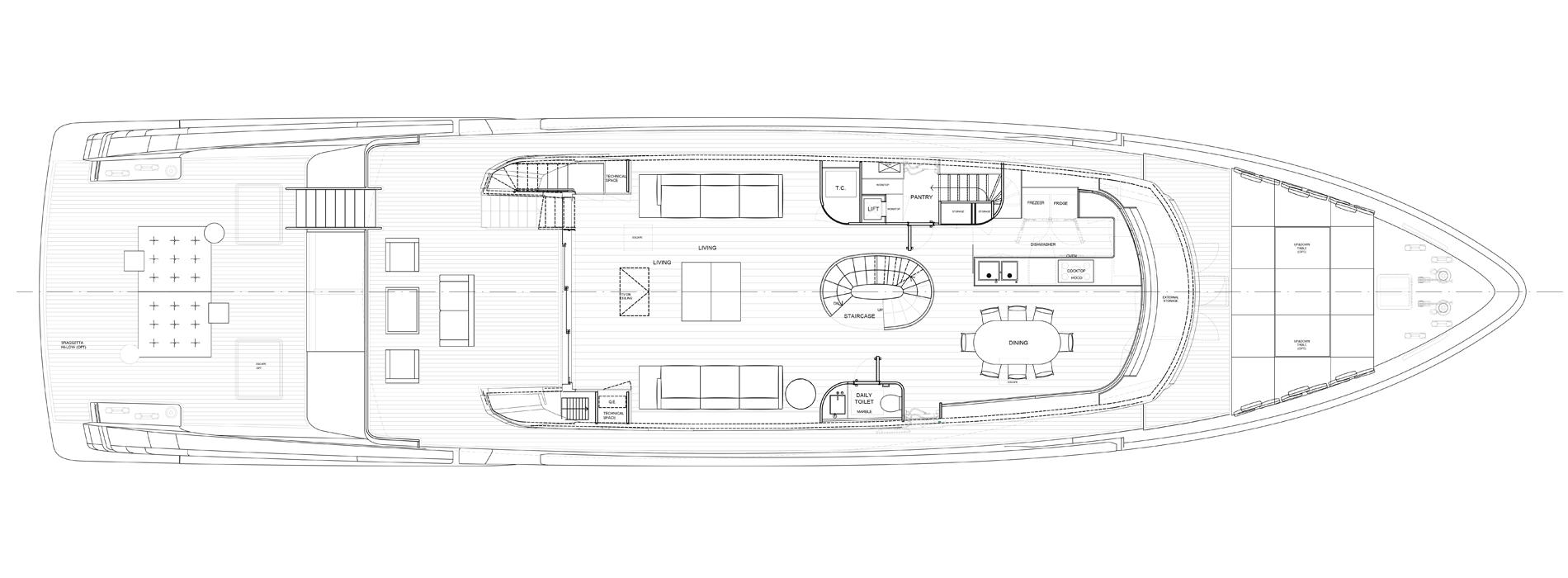 Sanlorenzo Yachts SX112 主甲板 版 B