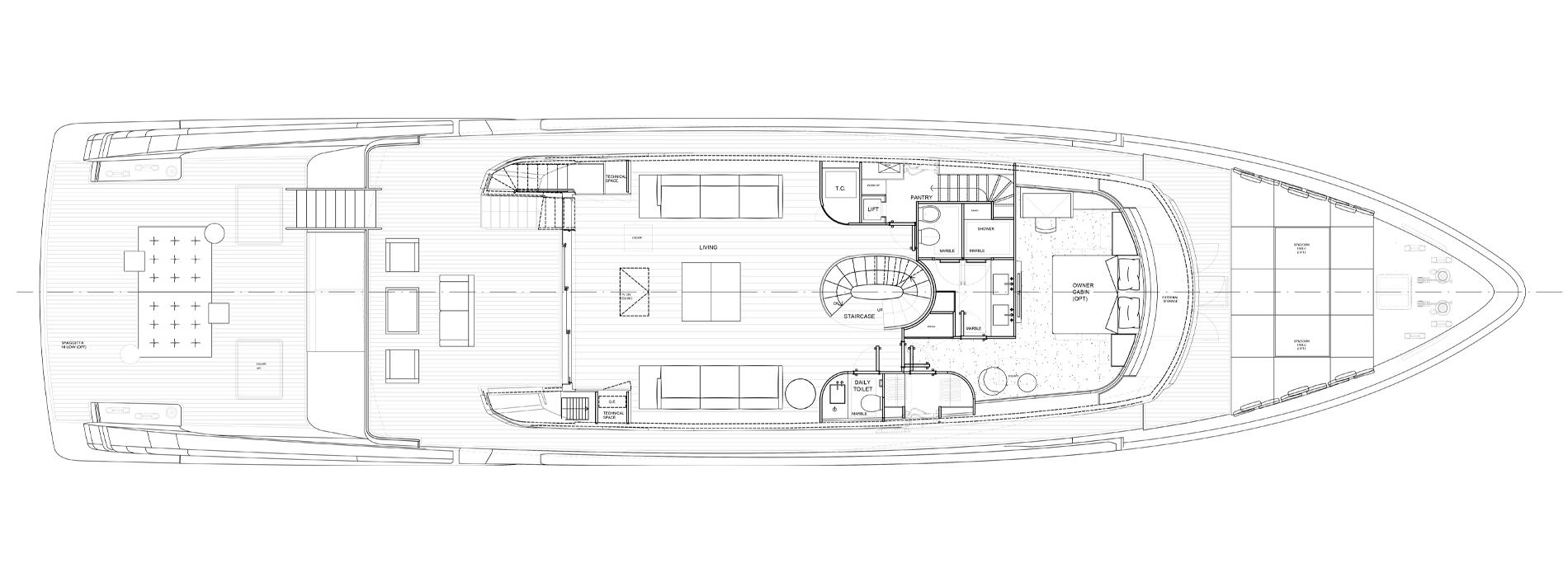 Sanlorenzo Yachts SX112 主甲板 版 C