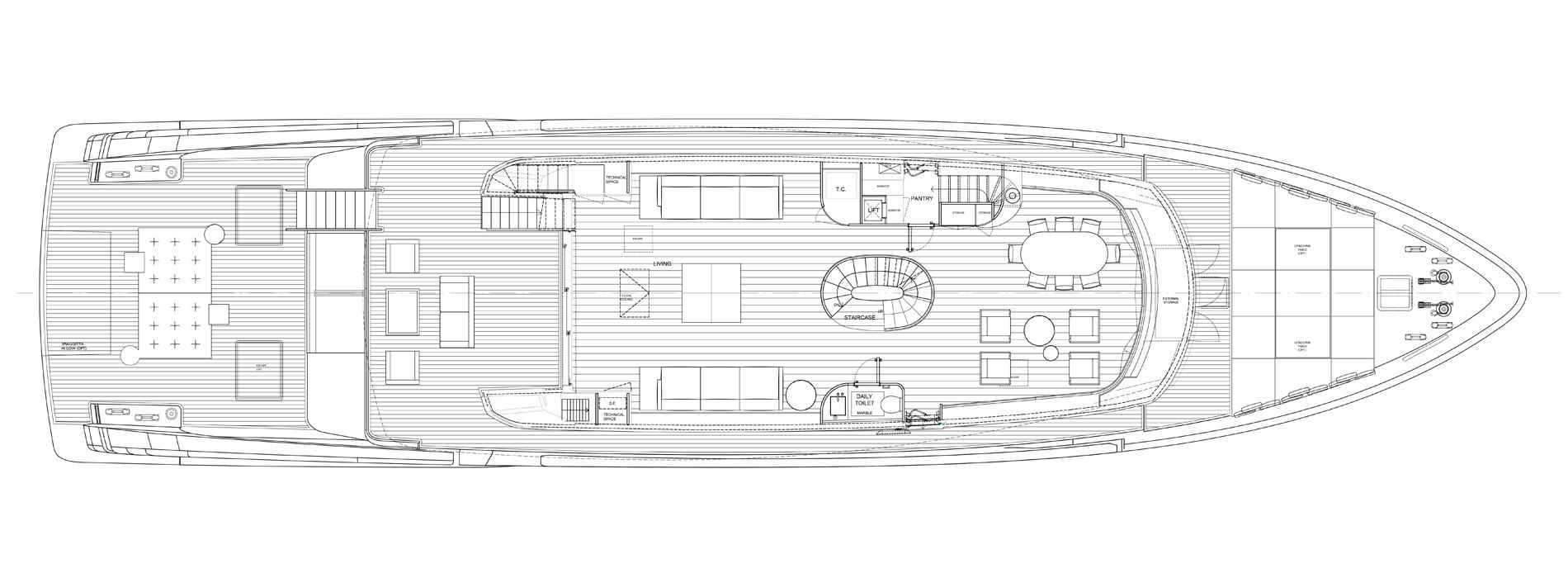 Sanlorenzo Yachts SX112 Cubierta principal versión A