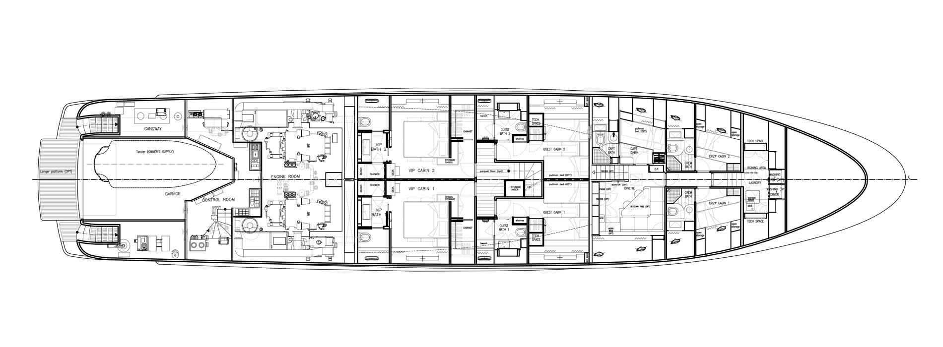 Sanlorenzo Yachts SD122-127 Cubierta inferior