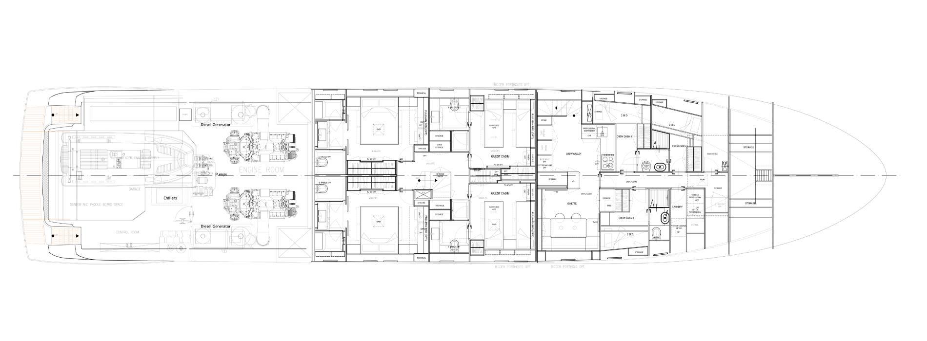 Sanlorenzo Yachts SL118-628 下层甲板