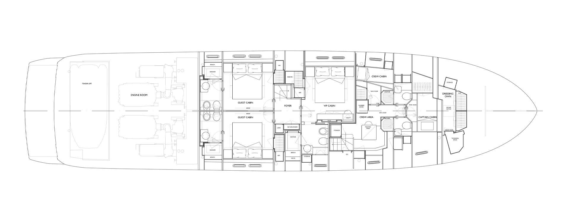 Sanlorenzo Yachts SL90 Asymmetric Lower Deck