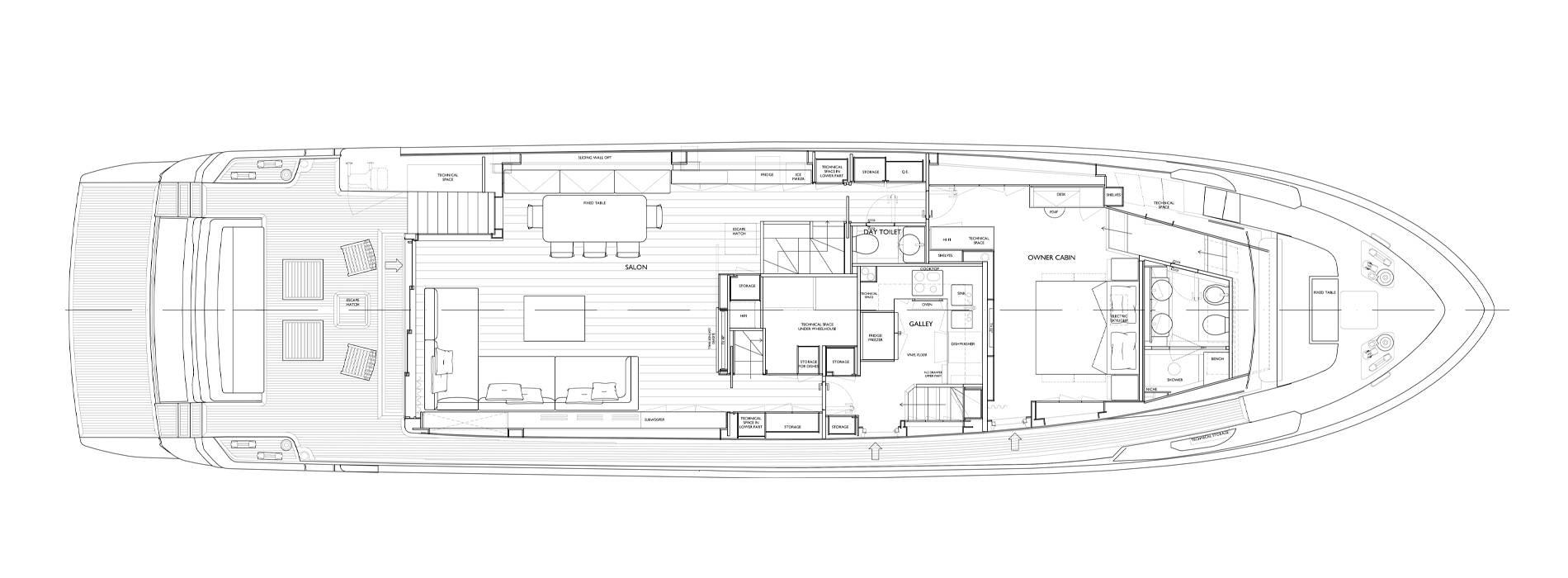 Sanlorenzo Yachts SL90 Asymmetric  Pont principal