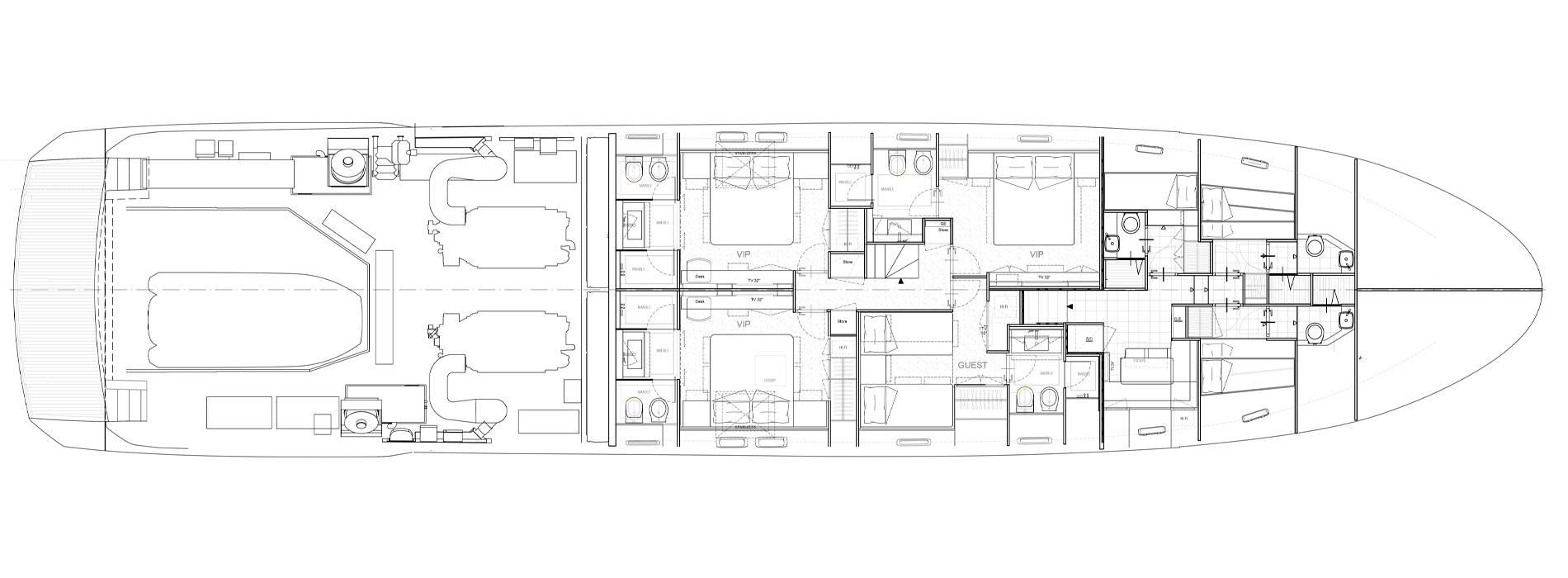 Sanlorenzo Yachts SL106 Asymmetric Lower Deck