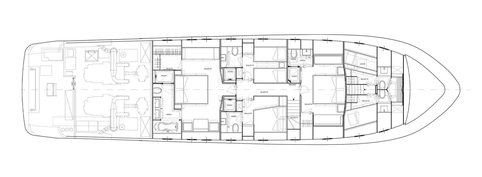 Sanlorenzo Yachts SL88-541 Нижняя палуба