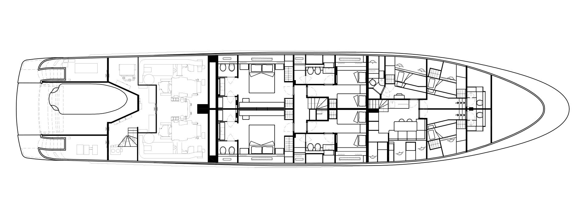 Sanlorenzo Yachts SD126 Нижняя палуба версия A