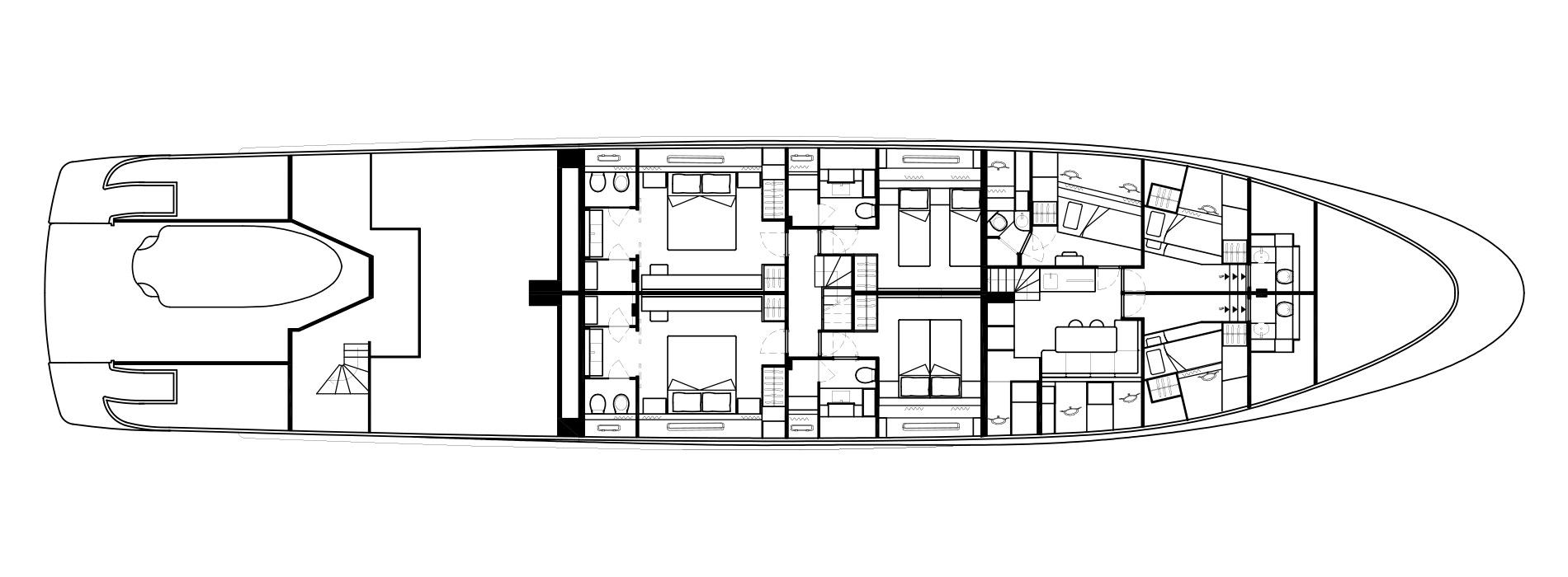 Sanlorenzo Yachts SD126 Cubierta inferior Versione A bis