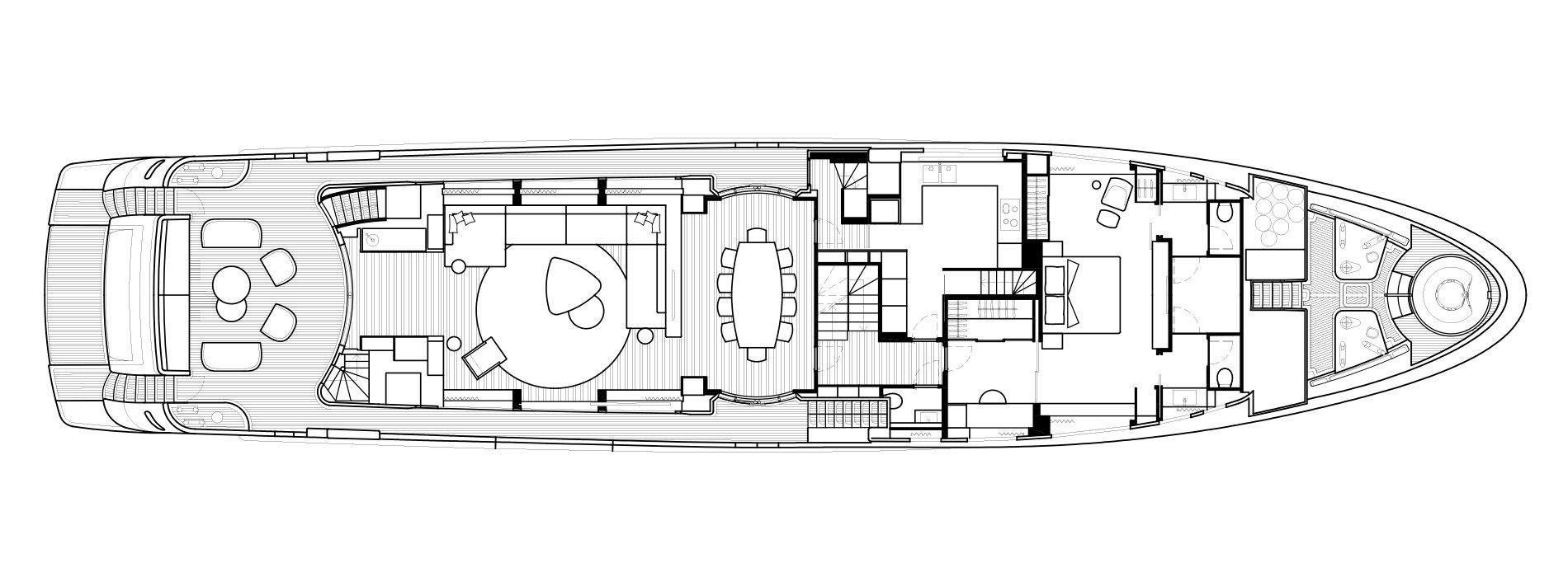 Sanlorenzo Yachts SD126 Cubierta principal Versione B