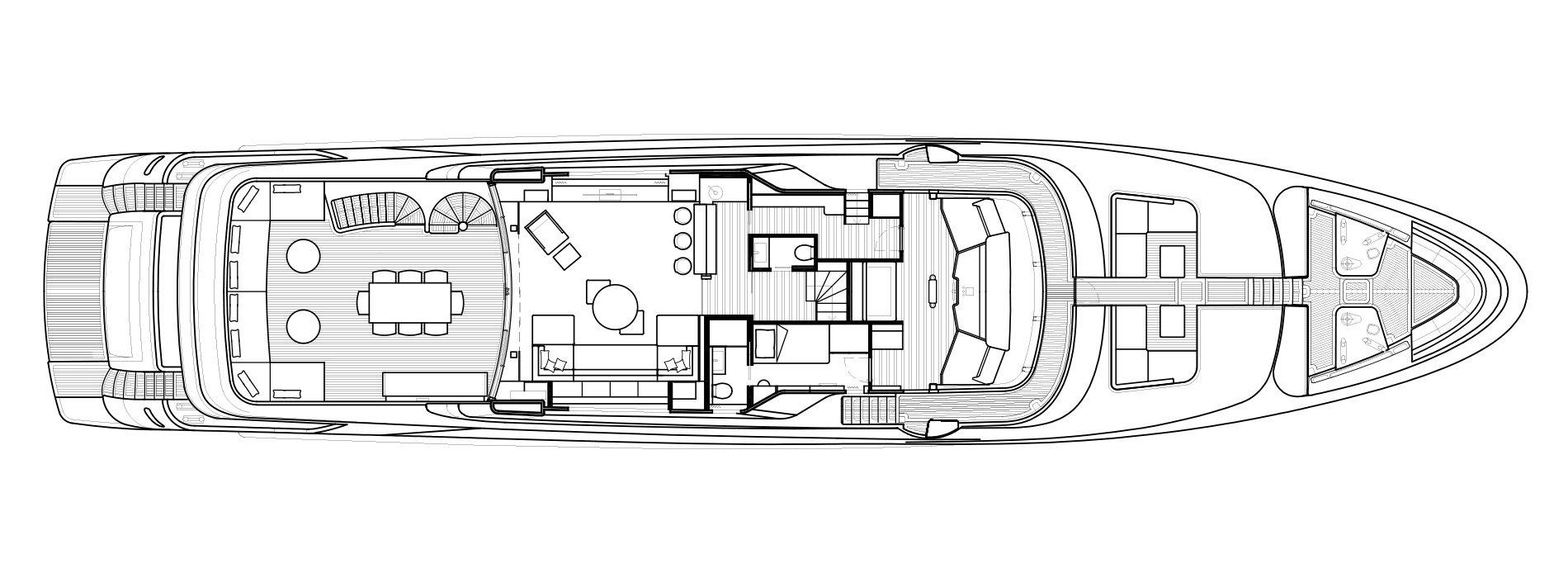 Sanlorenzo Yachts SD126 Cubierta superior Versione A