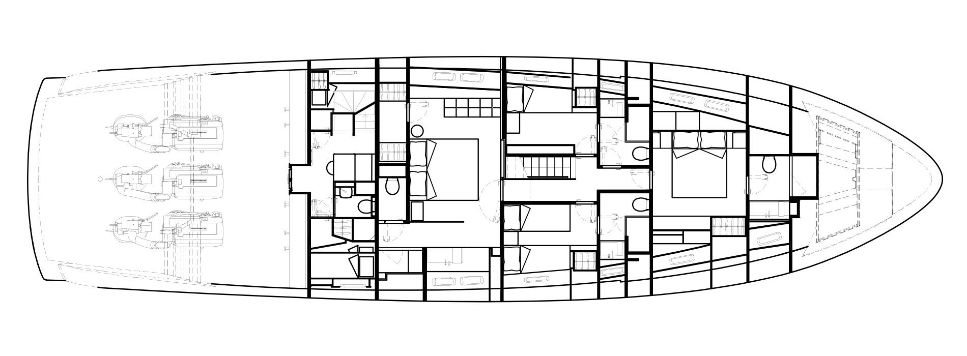 Sanlorenzo Yachts SX88 Cubierta inferior Versione Lissoni