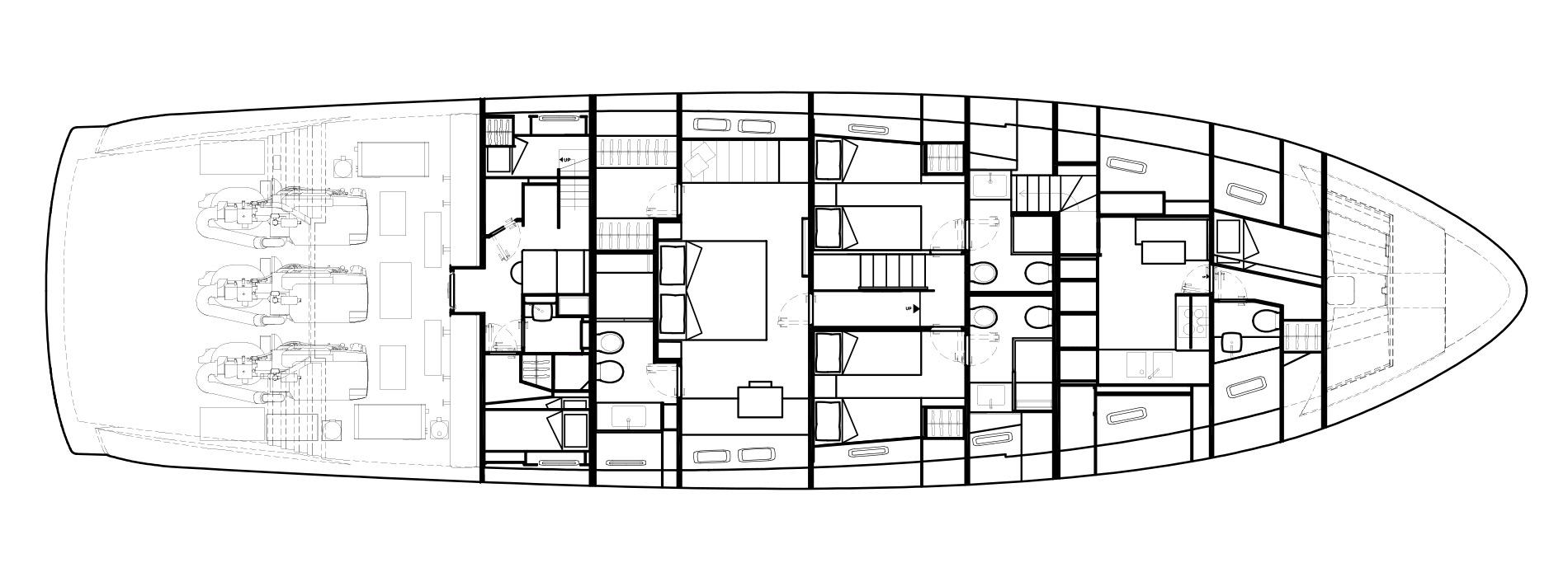 Sanlorenzo Yachts SX88 Cubierta inferior Versione C