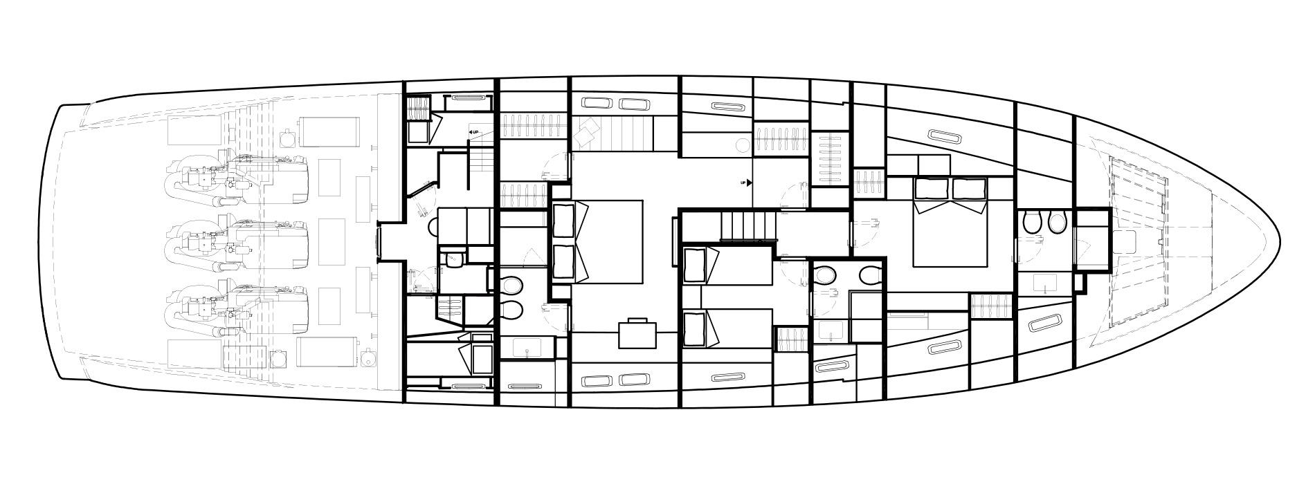 Sanlorenzo Yachts SX88 Cubierta inferior Versione B bis