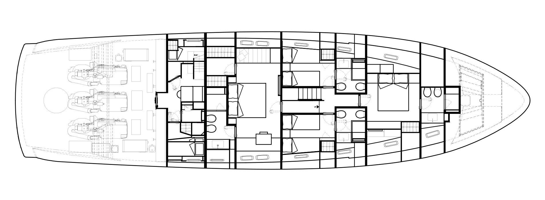 Sanlorenzo Yachts SX88 Cubierta inferior Versione A