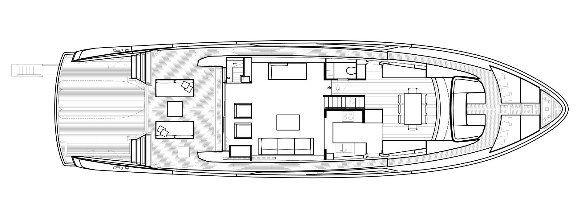 Sanlorenzo Yachts SX88 Cubierta principal Versione B open Galley