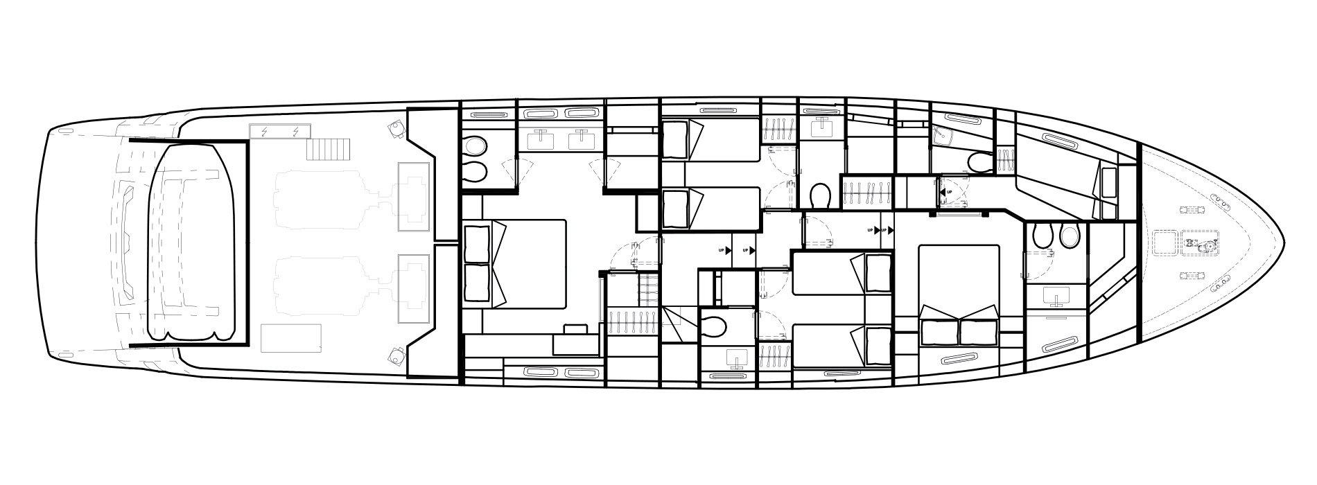 Sanlorenzo Yachts SL78 下层甲板 Versione A