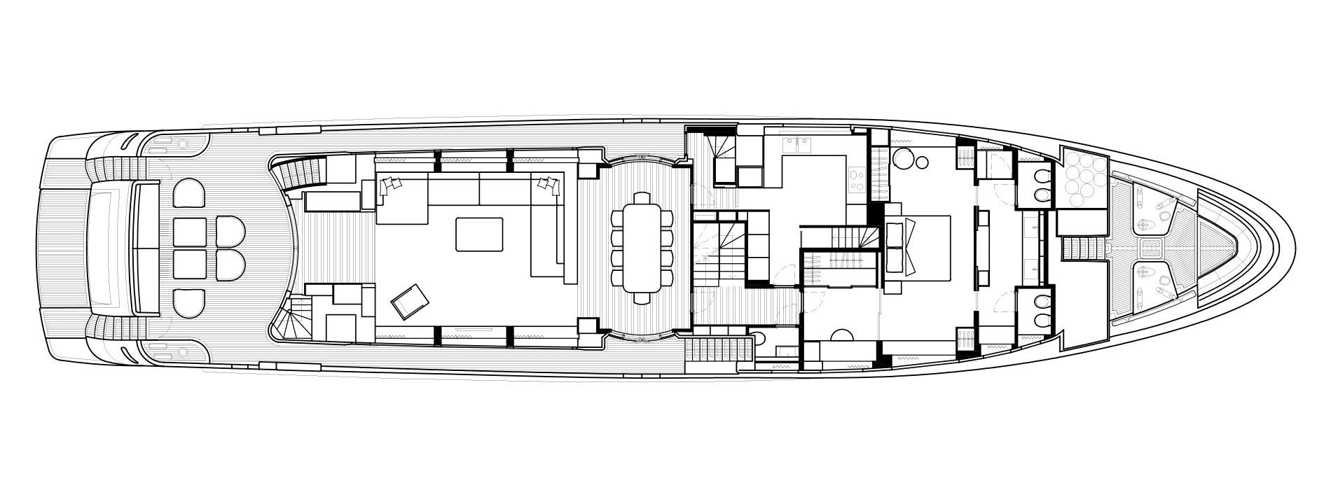 Sanlorenzo Yachts SD126 主甲板 Versione A