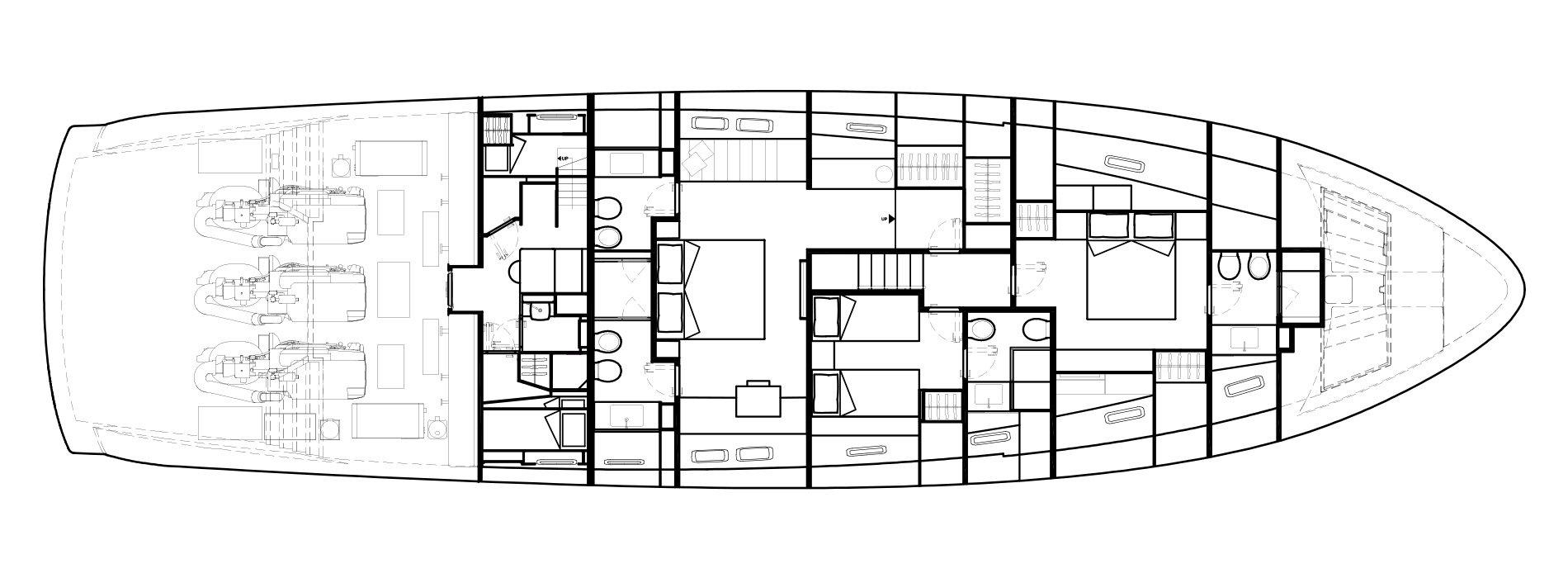Sanlorenzo Yachts SX88 下层甲板 Versione B