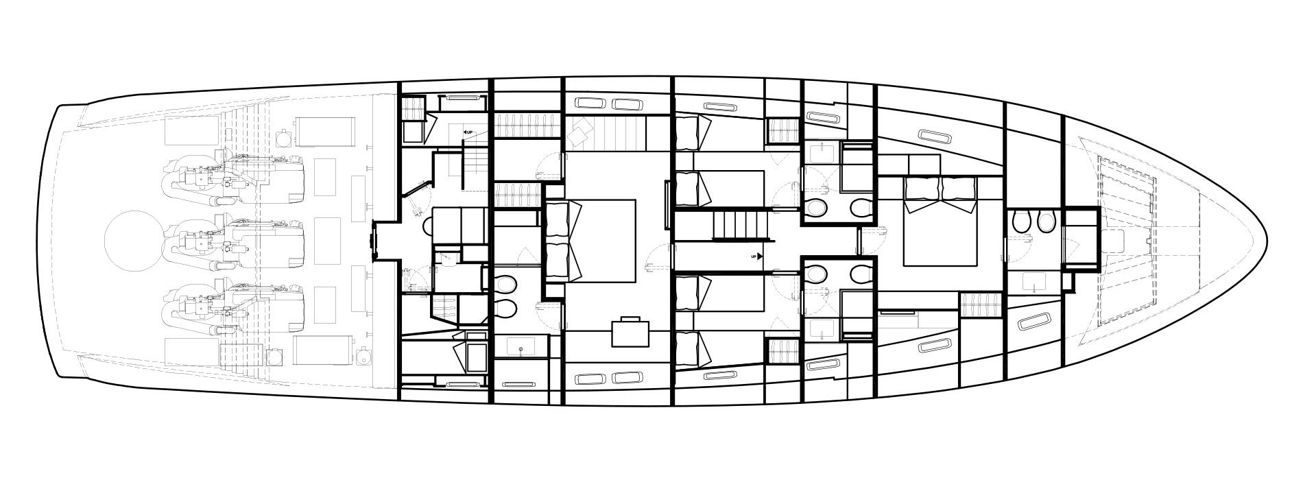 Sanlorenzo Yachts SX88 Pont inférieur Versione A