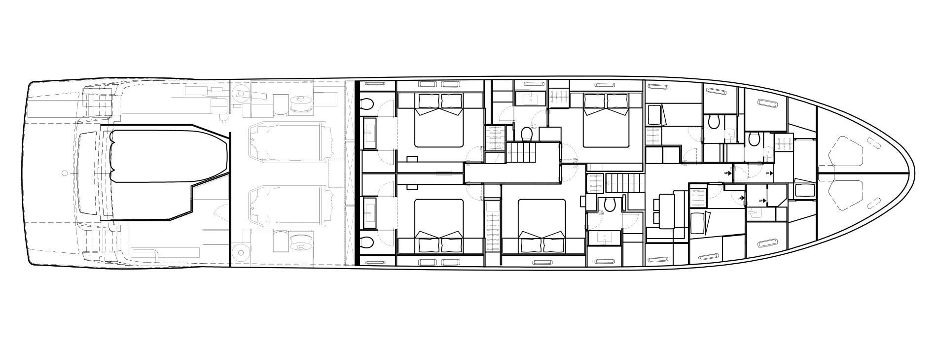 Sanlorenzo Yachts SL106 Pont inférieur
